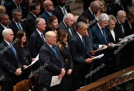 President Donald Trump, first lady Melania Trump, former President Barack Obama, Michelle Obama, former President Bill Clinton, former Secretary of State Hillary Clinton, former President Jimmy Carter, former attend a State Funeral for former President George H.W. Bush at the National Cathedral, in Washington. In the second row are Vice President Mike Pence, and his wife Karen Pence, former Vice President Dan Quayle, and his wife Marilyn Quayle and former Vice President Dick Cheney and his wife Lynn Cheney, former Vice President Joe Biden and his wife Jill Biden
