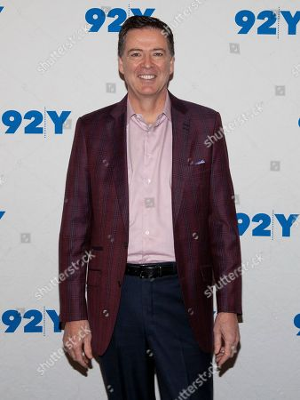 Stock Picture of Former FBI Director James Comey poses backstage before his conversation with Nicolle Wallace at the 92nd Street Y, in New York