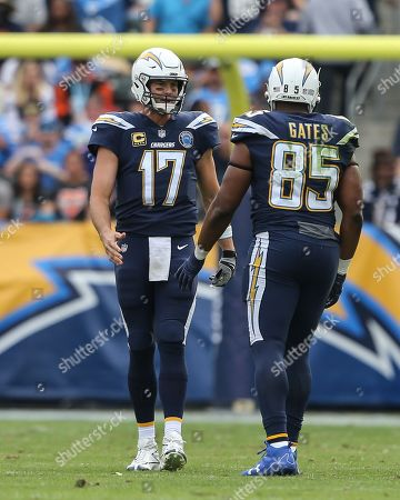 Los Angeles Chargers quarterback Philip Rivers #17 and Los Angeles Chargers tight end Antonio Gates #85 talk on the field during the Cincinnati Bengals vs Los Angeles Chargers at Stubhub Center in Carson, Ca on , 2018. (Photo by Jevone Moore)