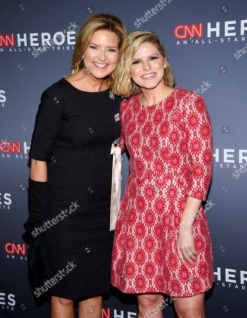 Stock Image of CNN anchors Christine Romans, left, and Katherine Jean Bolduan pose together at the 12th annual CNN Heroes: An All-Star Tribute at the American Museum of Natural History, in New York
