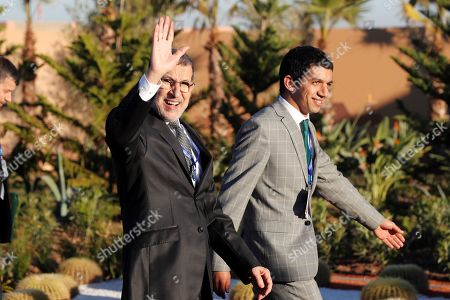 Moroccan Prime Minister, Saadeddine Othmani (L), waves upon his arrival for the Intergovernmental Conference on the Global Compact for Migration in Marrakech, Morocco, 10 December 2018. The UN report that more than 150 governments represented by their Heads of States, Heads of Government or senior officials are meeting in Marrakech on 10 - 11 December at the high-level Intergovernmental Conference to Adopt the Global Compact for Safe, Orderly and Regular Migration.