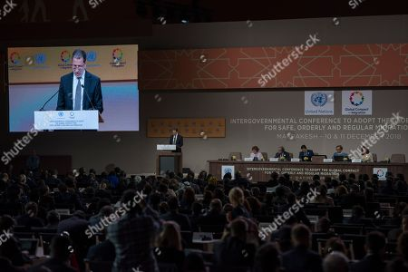Moroccan Prime Minister Saadeddine Othmani addresses the Intergovernmental Conference on the Global Compact for Migration in Marrakech, Morocco, 10 December 2018. The UN report that more than 150 governments represented by their Heads of States, Heads of Government or senior officials are meeting in Marrakech on 10 - 11 December at the high-level Intergovernmental Conference to Adopt the Global Compact for Safe, Orderly and Regular Migration.