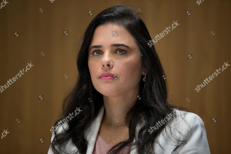 Israel's Justice Minister Ayelet Shaked hold press conference on money laundering and funding of militant groups, in Tel Aviv, Israel