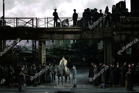 A scene of 'Attila',  conductor Riccardo Chailly, Attila played by Ildar Abdrazakov, Odabella played by Saioa Hernández, Ezio played by George Petean, Foresto played by Fabio Sartori
