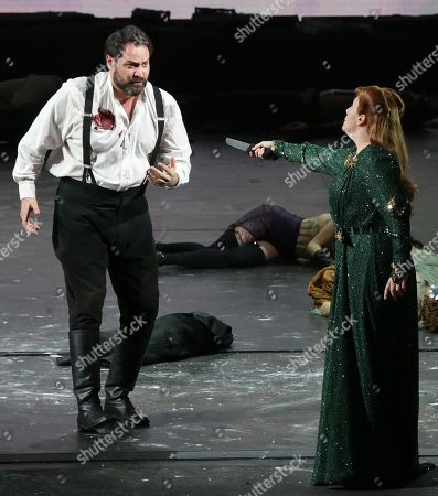 Stock Picture of A scene of 'Attila' orchestra conductor Riccardo Chailly, Attila played by Ildar Abdrazakov, Odabella played by Saioa Hernández, Ezio played by George Petean, Foresto played by Fabio Sartori