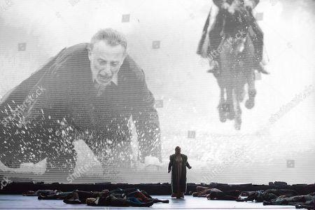 A scene of 'Attila' orchestra conductor Riccardo Chailly, Attila played by Ildar Abdrazakov, Odabella played by Saioa Hernández, Ezio played by George Petean, Foresto played by Fabio Sartori