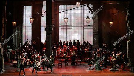 Stock Photo of A scene of 'Attila' orchestra conductor Riccardo Chailly, Attila played by Ildar Abdrazakov, Odabella played by Saioa Hernández, Ezio played by George Petean, Foresto played by Fabio Sartori