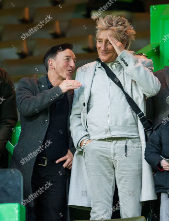 Stock Image of Music Producer John McLaughlin with Singer Rod Stewart watched Celtic beat Kilmarnock 5-1