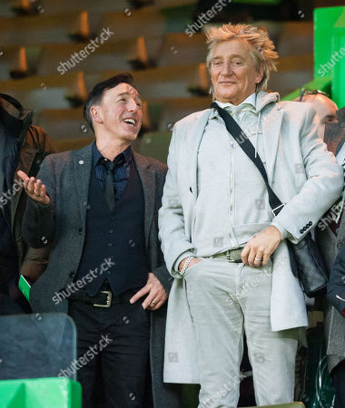 Stock Photo of Music Producer John McLaughlin with Singer Rod Stewart watched Celtic beat Kilmarnock 5-1