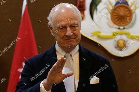 Outgoing United Nations envoy for Syria Staffan De Mistura gestures during a statement with Jordan Foreign Minister Ayman Safadi (not pictured), at the Foreign Ministry in Amman, Jordan, 10 December 2018. De Mistura announced in October he would step down at the end of November from his post as Special Envoy for Syria.
