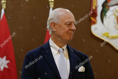 Outgoing United Nations envoy for Syria Staffan De Mistura looks on during a statement with Jordan Foreign Minister Ayman Safadi (not pictured), at the Foreign Ministry in Amman, Jordan, 10 December 2018. De Mistura announced in October he would step down at the end of November from his post as Special Envoy for Syria.