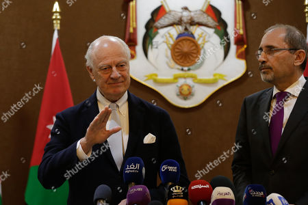 Outgoing United Nations envoy for Syria Staffan De Mistura (L) gestures during a statement with Jordan Foreign Minister Ayman Safadi, at the Foreign Ministry in Amman, Jordan, 10 December 2018. De Mistura announced in October he would step down at the end of November from his post as Special Envoy for Syria.