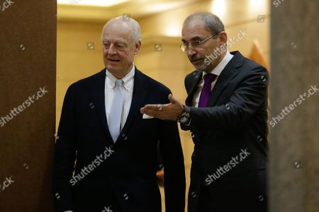 Outgoing United Nations envoy for Syria Staffan De Mistura (L) and Jordan Foreign Minister Ayman Safadi arrive to give a short statement, at the Foreign Ministry in Amman, Jordan, 10 December 2018. De Mistura announced in October he would step down at the end of November from his post as Special Envoy for Syria.