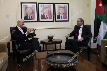 Outgoing United Nations envoy for Syria Staffan De Mistura (L) meets with Jordan Foreign Minister Ayman Safadi (R), at the Foreign Ministry in Amman, Jordan, 10 December 2018. De Mistura announced in October he would step down at the end of November from his post as Special Envoy for Syria.