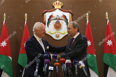 Outgoing United Nations envoy for Syria Staffan De Mistura (L) shakes hands with Jordan Foreign Minister Ayman Safadi (R), at the Foreign Ministry in Amman, Jordan, 10 December 2018. De Mistura announced in October he would step down at the end of November from his post as Special Envoy for Syria.