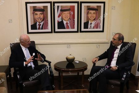 Outgoing United Nations envoy for Syria Staffan De Mistura (L) speaks during a meeting with Jordan Foreign Minister Ayman Safadi (R), at the Foreign Ministry in Amman, Jordan, 10 December 2018. De Mistura announced in October he would step down at the end of November from his post as Special Envoy for Syria.