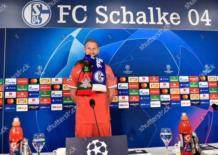 A stand-up display of Moscow player Benedikt Hoewedes is pictured on the podium at a press conference prior the Champions League group D soccer match between FC Schalke 04 and Lokomotiv Moscow in Gelsenkirchen, Germany
