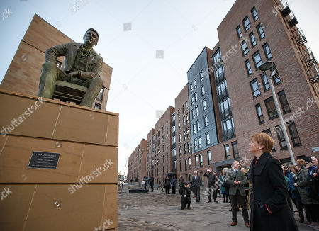 Scotlands First Minister and SNP Leader Nicola Sturgeon (R) at the unveiling of the Charles Rennie Mackintosh statue in Glasgow, Scotland, 10 December 2018. The work by Andy Scott is believed to be the world's first public sculpture celebrating Scottish architect, designer, and artist. Mackintosh and will be unveiled on the 90th anniversary of his death. Reports state that Nicola Sturgeon has called on Jeremy Corbyn to lodge a motion of no confidence in the Prime Minister after the British Priome Minister Theresa May's Meaningful Vote on her Brexit deal was shelved.