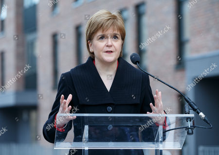 Scotlands First Minister and SNP Leader Nicola Sturgeon speaks at the unveiling of the Charles Rennie Mackintosh statue in Glasgow, Scotland, 10 December 2018. The work by Andy Scott is believed to be the world's first public sculpture celebrating Scottish architect, designer, and artist. Mackintosh and will be unveiled on the 90th anniversary of his death. Reports state that Nicola Sturgeon has called on Jeremy Corbyn to lodge a motion of no confidence in the Prime Minister after the British Priome Minister Theresa May's Meaningful Vote on her Brexit deal was shelved.