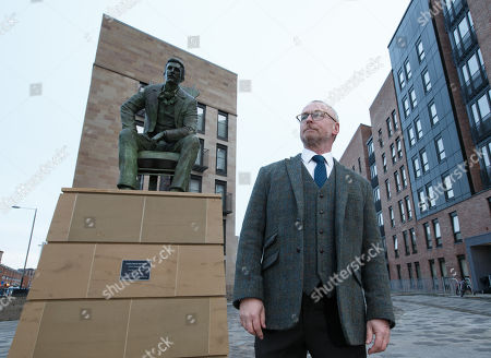 Artist Andy Scott speaks alongside Scotlands First Minister and SNP Leader Nicola Sturgeon speaks (unseen) at the unveiling of the Charles Rennie Mackintosh statue in Glasgow, Scotland, 10 December 2018. The work by Andy Scott is believed to be the world's first public sculpture celebrating Scottish architect, designer, and artist. Mackintosh and will be unveiled on the 90th anniversary of his death. Reports state that Nicola Sturgeon has called on Jeremy Corbyn to lodge a motion of no confidence in the Prime Minister after the British Priome Minister Theresa May's Meaningful Vote on her Brexit deal was shelved.