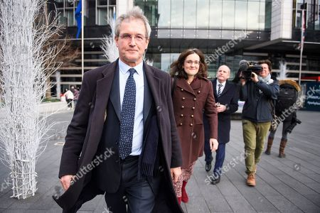 Owen Paterson MP and Theresa Villiers MP leave a Conservative Friends of Israel event in central London. Mrs May is expected to call off tomorrows withdrawal agreement vote when she speaks in the House of Commons later.