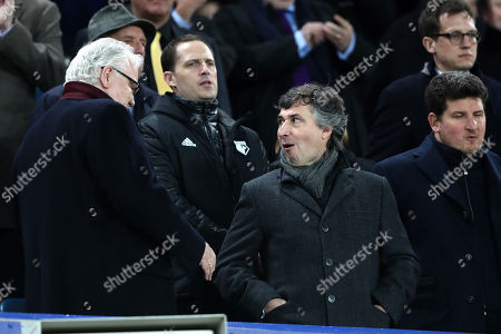 Everton chairman Bill Kenwright with Watford owner Gino Pozzo in the stand before kick-off