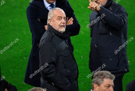 Napoli's president Aurelio De Laurentiis attends a training session at Anfield in Liverpool, Britain, 10 December 2018.  SSC Napoli will face Liverpool FC in their UEFA Champions League group C soccer match on 11 December 2018.