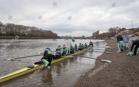 Cambridge University Trial Eights in preparation for the Boat Race on the Thames, London., Boat Race Trial VIIIs (Eights) are the only opportunity either side have to race the full course from Putney to Mortlake with the Race Umpires, so provide an important test for rowers and coxes alike.  They allow coaching teams to analyse the progression and potential and are often influential in final selection of crews for the Blue Boats., The first Trial Eights race was staged by Oxford 153 years ago in 1859 and Cambridge joined the tradition three years later in 1862., CUWBC have chosen to name their crews after two Nobel Prize winning women, Marie Curie and Bertha von Suttner. , CUWBC crew list:-, Suttner (White hull, white crew tops), , Stroke. Emma Andrews, 7. Ida Gørtz-Jacobsen, 6. Lily Lindsay, 5. Abigail Parker, 4. Larkin Sayre, 3. Laura Foster, 2. Fanny Belais, Bow. Sally O'Brien, Cox. Catriona Bourne-Swinton, , Curie.  (Yellow hull, dark crew tops), Stroke. Philippa Whittaker, 7. Kate Horvat, 6. Sophie Deans, 5. Tricia Smith, 4. Naomi Pygott, 3. Adriana Perez-Rotondo, 2. Rebecca Dell, Bow. Charlotte Jackson, Cox. Hugh Spaughton
