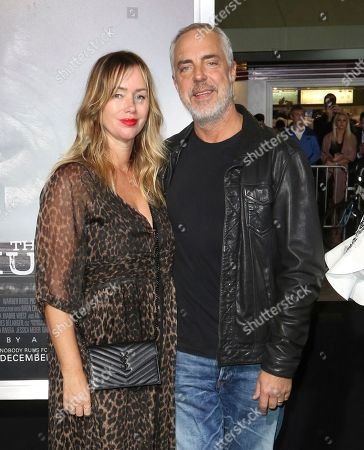 """Titus Welliver, Jose Stemkens. Titus Welliver, right, and Jose Stemkens arrive at the world premiere of """"The Mule"""", at the Westwood Regency Village Theatre in Los Angeles"""