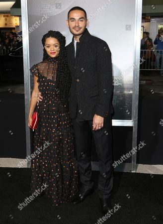 """Adelfa Marr, Manny Montana. Adelfa Marr, left, and Manny Montana arrive at the world premiere of """"The Mule"""", at the Westwood Regency Village Theatre in Los Angeles"""