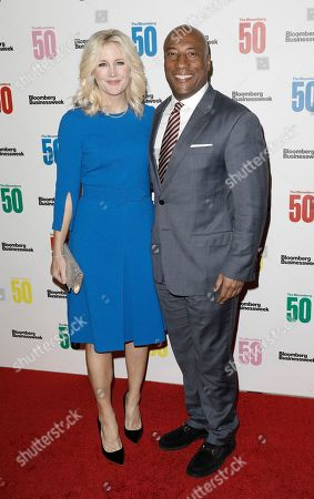 United States comedian Byron Allen (R) and wife Jennifer Lucas (L) attend 'The Bloomberg 50' Celebration at Cipriani in New York, New York, United StatesA, 10 December 2018.