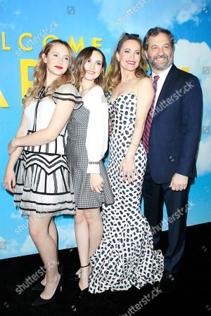 Maude Apatow, Iris Apatow, cast member Leslie Mann and husband US producer Judd Apatow arrive