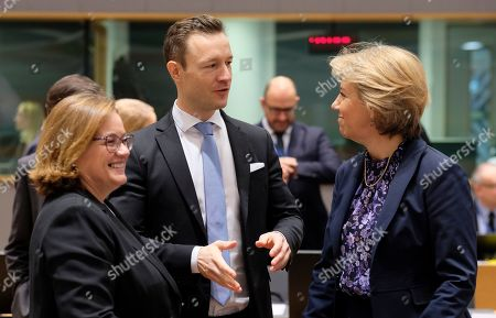 (L-R) Portugal European Affairs State Secretary Ana Paula Zacarias, Austrian Minister in Charge of EU affairs Gernot Blumel and Croatian European Affairs State Secretary Andreja Metelko-Zgombic during a European general affairs council in Brussels, Belgium, 11 December 2018. Reports state that the Council will focus on the proposal under Article7(1)TEU concerning the rule of law in Poland.