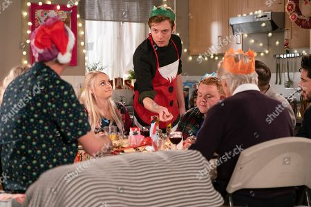 Ep 9648 & 9649 Tuesday 25th December 2018  Daniel Osbourne, as played by Rob Mallard, and Sinead Tinker, as played by Katie McGlynn, host a Vegan Christmas Day for Adam Barlow, as played by Sam Robertson, Ken Barlow, as played by William Roache, Peter Barlow, as played by Alex Bain, Beth Tinker, as played by Lisa George, Kirk Sutherland and Craig Tinker, as played by Colson Smith. Ken produces a set of handbells and insists they make their own music. Sinead's upset when she overhears Daniel confiding in Peter that he's worried she's going to die.