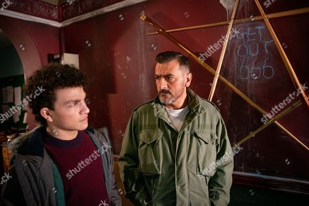 Ep 9652 Friday 28th December 2018 - 2nd Ep In the snooker hall, Peter Barlow, as played by Chris Gascoyne, and Simon Barlow, as played by Alex Bain, find snooker cues in pentangles on the floor and '666' scrawled on the wall in chalk.