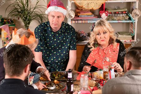 Ep 9648 & 9649 Tuesday 25th December 2018  Daniel Osbourne and Sinead Tinker host a Vegan Christmas Day for Adam Barlow, as played by Sam Robertson, Ken Barlow, Peter Barlow, as played by Alex Bain, Beth Tinker, as played by Lisa George, Kirk Sutherland, as played by Andy Whyment, and Craig Tinker, as played by Colson Smith. Ken produces a set of handbells and insists they make their own music. Sinead's upset when she overhears Daniel confiding in Peter that he's worried she's going to die.