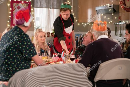 Ep 9648 & 9649 Tuesday 25th December 2018  Daniel Osbourne, as played by Rob Mallard, and Sinead Tinker, as played by Katie McGlynn, host a Vegan Christmas Day for Adam Barlow, as played by Sam Robertson, Ken Barlow, as played by William Roache, Peter Barlow, as played by Alex Bain, Beth Tinker, as played by Lisa George, Kirk Sutherland, as played by Andy Whyment, and Craig Tinker, as played by Colson Smith. Ken produces a set of handbells and insists they make their own music. Sinead's upset when she overhears Daniel confiding in Peter that he's worried she's going to die.
