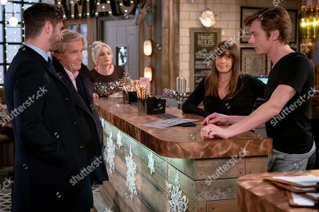 Ep 9646 Monday 24th December 2018 - 1st Ep  Daniel Osbourne, as played by Rob Mallard, stresses about having to cook a vegan Christmas dinner. With Adam Barlow, as played by Sam Robertson, Ken Barlow, as played by William Roache, Michelle Connor, as played by Kym Marsh.
