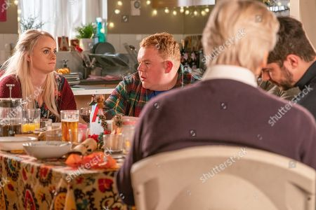Ep 9648 & 9649 Tuesday 25th December 2018  Daniel Osbourne and Sinead Tinker, as played by Katie McGlynn, host a Vegan Christmas Day for Adam Barlow, as played by Sam Robertson, Ken Barlow, as played by William Roache, Peter Barlow, Beth Tinker, Kirk Sutherland and Craig Tinker, as played by Colson Smith. Ken produces a set of handbells and insists they make their own music. Sinead's upset when she overhears Daniel confiding in Peter that he's worried she's going to die.