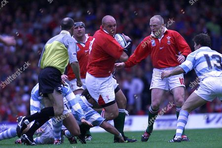 Craig Quinnell Breaks Through With The Ball For Wales In A 1999 Rugby World Cup Match Against Argentina. Final Score Wales 23 Argentina 18.