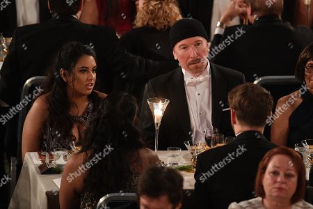 Stock Image of David Howell Evans ' The Edge ' from the U2 group and guest attend the Nobel Prize Banquet 2018 at City Hall