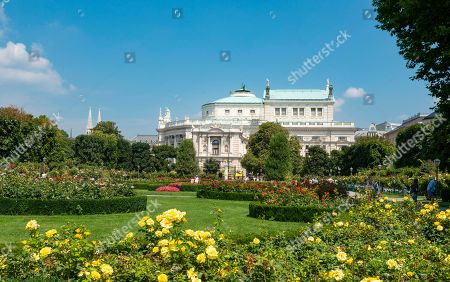 Volksgarten with blooming roses, Burgtheater in the back, Vienna, Austria