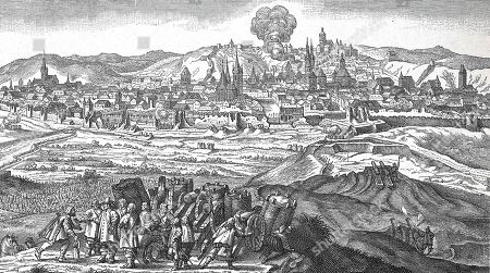 30-year war, bombardment of Prague by Carl Gustav von Pfalz-Zweibruecken, scene in the foreground, Karl Gustav receives by a messenger the news of the conclusion of the Peace of Westphalia, 1648, woodcut, Czech Republic