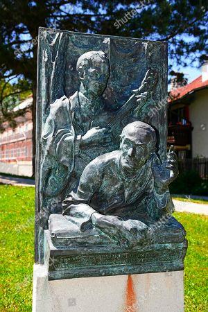 Bronze sculpture by Joseph Moor and Xaver Gruber, the creators of the Christmas carol Silent Night, Holy Night, Saint Nicholas, Oberndorf, Salzburg Lake District, Austria