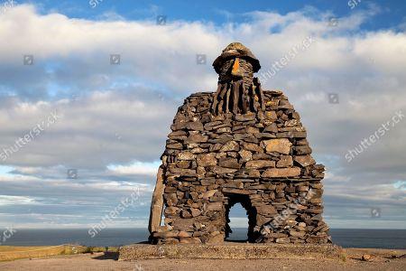 Stone figure Bardur Snaefellsas, Legend figure, Halbtroll, Artist Ragnar Kjartansson, Arnarstapi, Snaefellsnes, Vesturland, Iceland