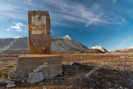 Memorial stone for Amundsen-Ellsworth North Pole Airplane Expedition, Ny-Alesund, Spitsbergen Island, Spitsbergen Archipelago, Svalbard and Jan Mayen, Norway