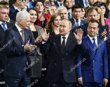 Stock Photo of Left to right, first row: Boris Gryzlov, Chairman of the United Russia Party?s Supreme Council; Vladimir Putin, President of Russia; and Dmitry Medvedev, Chairman of the United Russia Political Party, Russian Prime Minister, during the congress.