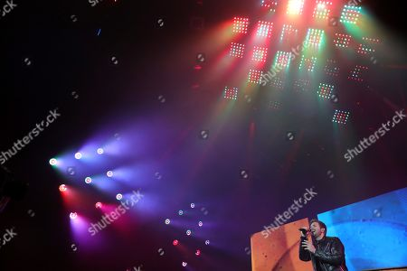 Pablo Alboran performs on stage during his concert at the Sports Palace in Madrid, Spain, 08 December 2018.
