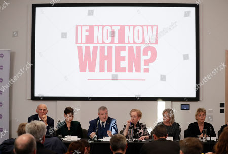 A cross-party group of Members of Parliament including, from left, Liberal Democrat party leader Vince Cable, Green party leader Caroline Lucas, Leader of the Scottish National Party in the House of Commons Ian Blackford, opposition Labour party MP Margaret Beckett, Wales' Plaid Cymru party MP Liz Saville Roberts and ruling Conservative party MP Anna Soubry attend a People's Vote press conference calling for a second referendum of Britain's European Union membership in London, . Top European Union officials are ruling out any renegotiation of the divorce agreement with Britain as Prime Minister Theresa May fights to save her Brexit deal by lobbying leaders in Europe's capitals
