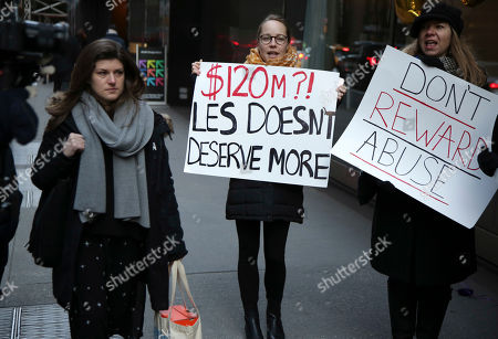 Stock Photo of Protesters stand outside the site of the CBS shareholder's meeting in New York, . The meeting in New York wrapped up quickly after 11 board members were elected. The new board has until the end of January to decide whether former CEO Les Moonves, who was ousted in September after multiple allegations of sexual misconduct, will receive his $120 million severance package